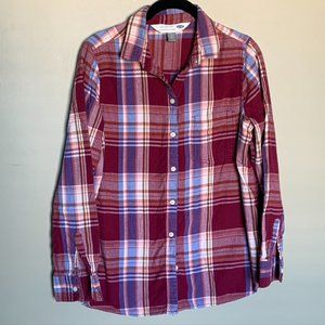 Old Navy cranberry classic flannel button down
